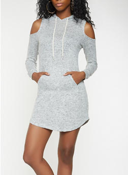 Hooded Cold Shoulder Sweatshirt Dress - 3094054260555