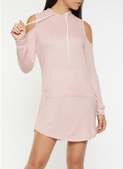 Hooded Cold Shoulder Sweatshirt Dress - 3094054260555