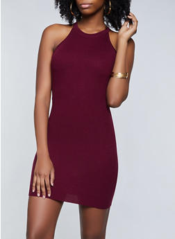 Cut Out Back Ribbed Knit Dress - 3094054260602