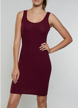 Ribbed Scoop Neck Tank Dress - 3094054261075