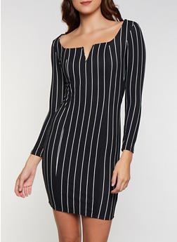 Long Sleeve Striped V Neck Dress - 3094058750010