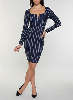 Long Sleeve Striped V Neck Dress - 3094058750010