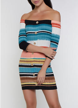 Striped Off the Shoulder Button Dress - 3094058750012