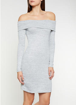 Off the Shoulder Sweater Dress - 3094058750034