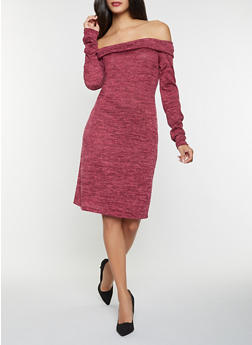 Off the Shoulder Sweater Dress - 3094058750034