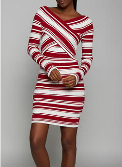 Striped Criss Cross Sweater Dress - 3094058750241
