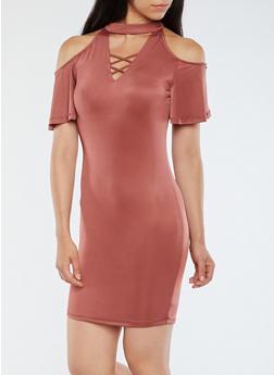 Cold Shoulder Caged Neck Dress - 3094058750322