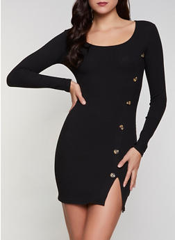 Ribbed Button Detail Dress - 3094058750632