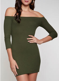 Ribbed Off the Shoulder Bodycon Dress - 3094058750633