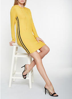 Striped Knit Trim Hooded Dress - 3094058752190