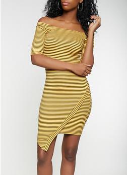 Striped Off the Shoulder Dress - 3094058752198