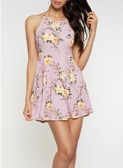 Printed Skater Dress - 3094058752414