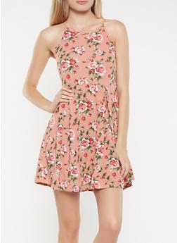 Floral Textured Knit Skater Dress - 3094058753780