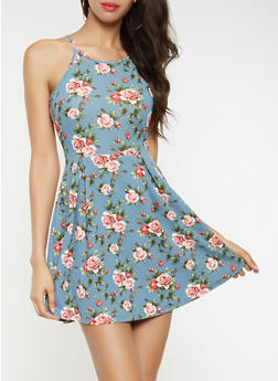 Floral Textured Knit Skater Dress - 3094058753780