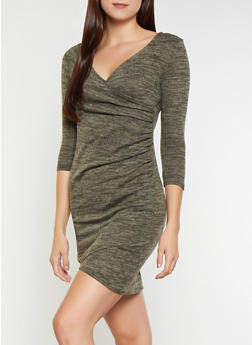 Faux Wrap Sweater Dress - 3094058753882