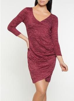 Faux Wrap Sweater Dress - 3094058753882