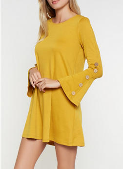 Bell Sleeve Skater Dress - 3094058754025