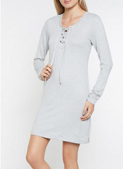 French Terry Lace Up Sweatshirt Dress - 3094058754033