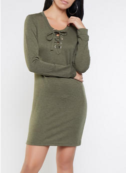 Lace Up Sweatshirt Dress - 3094058754033