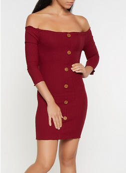 Rib Knit Off the Shoulder Dress - 3094058754039