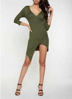 Soft Knit Faux Wrap Dress - 3094058754144