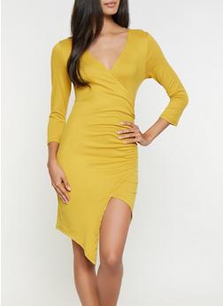 Soft Knit Faux Wrap Dress - 3094058754144