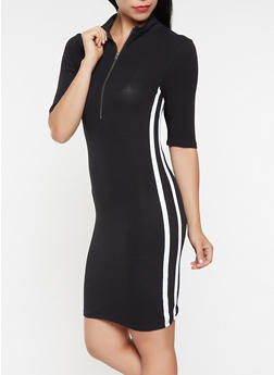 Varsity Stripe Zip Neck Dress - 3094061636270