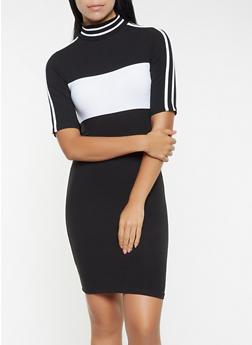Color Block T Shirt Dress - BLACK - 3094061637160