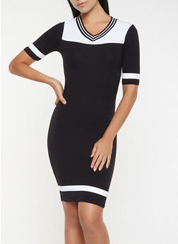 Color Block T Shirt Dress - 3094061637170
