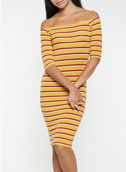 Striped Off the Shoulder Dress - 3094061637210