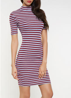 Striped Ribbed Knit Bodycon Dress - 3094061637230