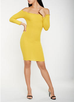 Ribbed Knit Off the Shoulder Bodycon Dress - 3094061639701
