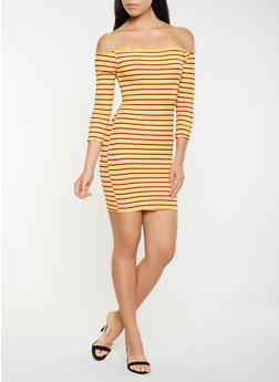 Striped Off the Shoulder Bodycon Dress - 3094061639703
