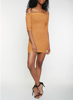 Striped Lettuce Edge Off the Shoulder Dress - 3094061639704