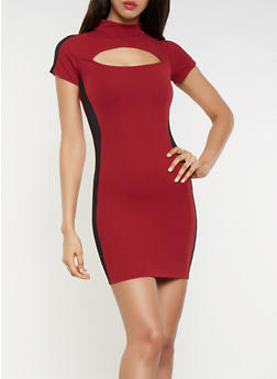 Contrast Trim Cut Out Dress - 3094061639705