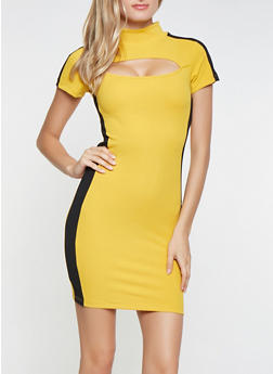 Contrast Trim Cut Out Dress - 3094061639705