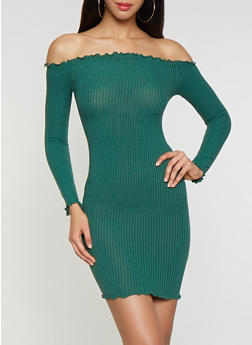 Rib Knit Off the Shoulder Dress - 3094061639724