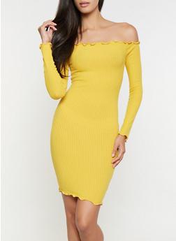 Rib Knit Off the Shoulder Dress - 3094061639724