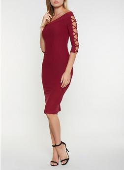 Caged Off the Shoulder Bodycon Dress - 3094061639727