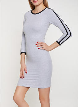 Varsity Stripe T Shirt Dress - 3094061639730