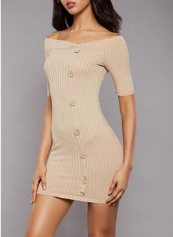 Ribbed Button Detail Bodycon Dress - 3094069392077