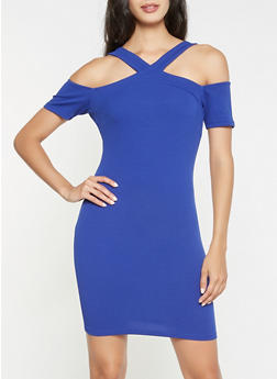 Textured Knit Cold Shoulder Bodycon Dress - 3094069393372