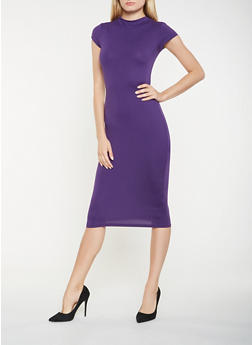 Soft Knit Mock Neck Bodycon Dress - 3094069393894