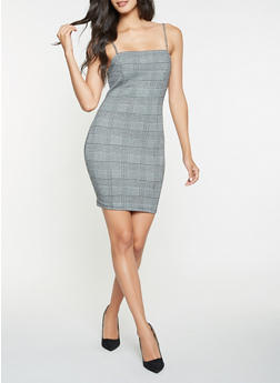 Plaid Bodycon Dress - 3094069394015