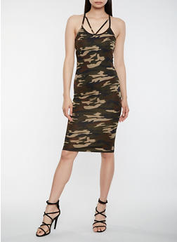 Caged Camo Bodycon Dress - 3094073372280