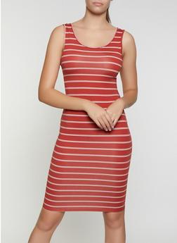 Striped Midi Bodycon Dress - 3094073373301