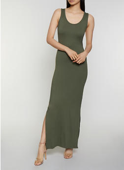 Side Slit Racerback Tank Maxi Dress - 3094073374133