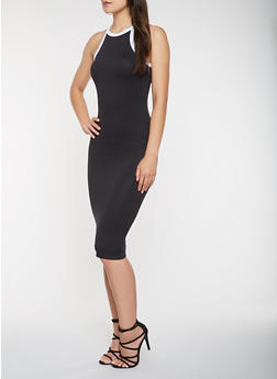 Contrast Trim Tank Dress - 3094073374612