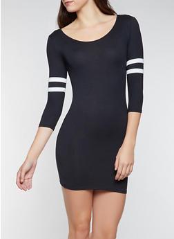 Varsity Stripe Sleeve T Shirt Dress - 3094073375111