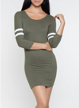 Varsity Stripe Sleeve T Shirt Dress - 3094073375111